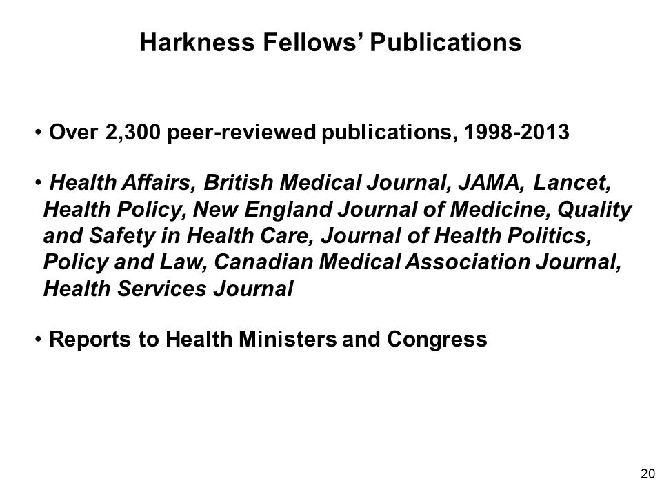 Harkness Fellows' Publications