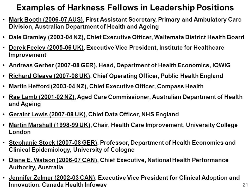 Examples of Harkness Fellows in Leadership Positions