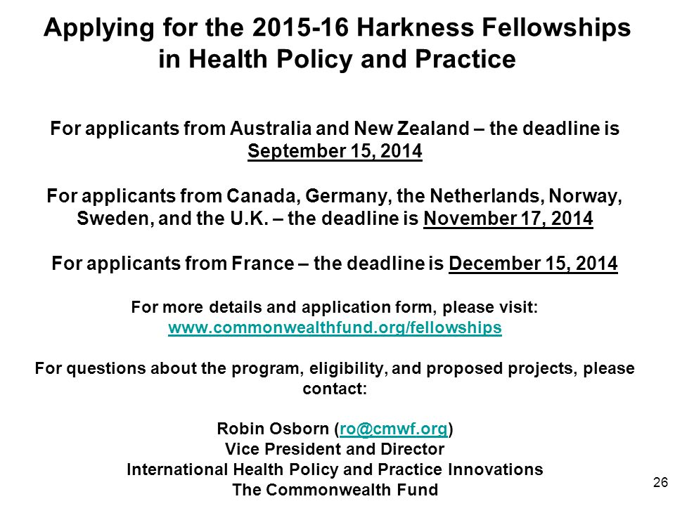 Applying for the 2015-16 Harkness Fellowships in Health Policy and Practice