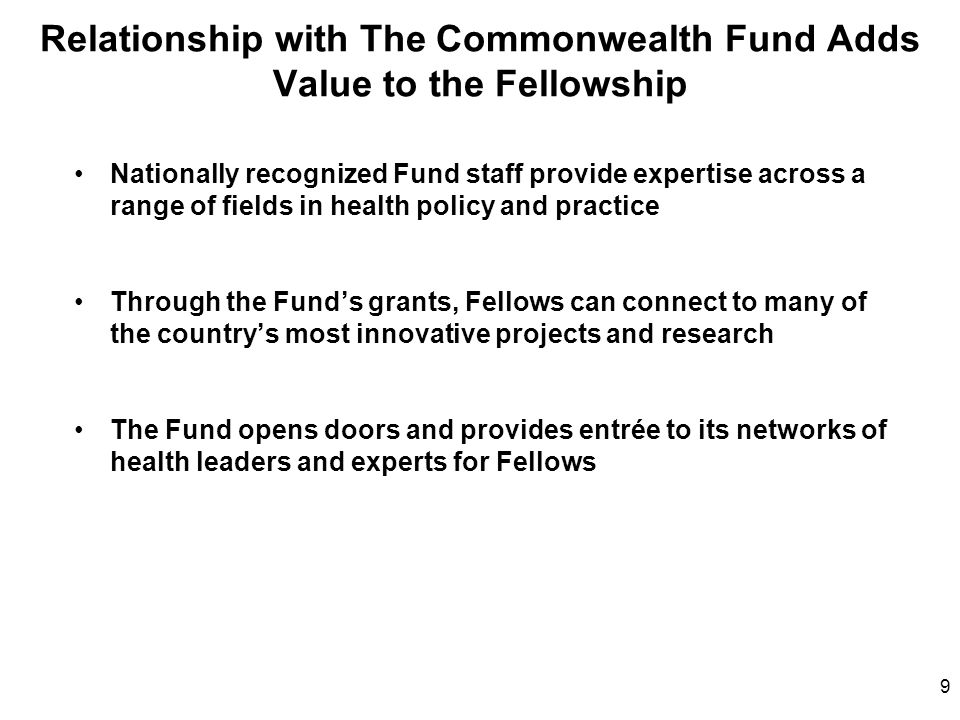Relationship with The Commonwealth Fund Adds Value to the Fellowship