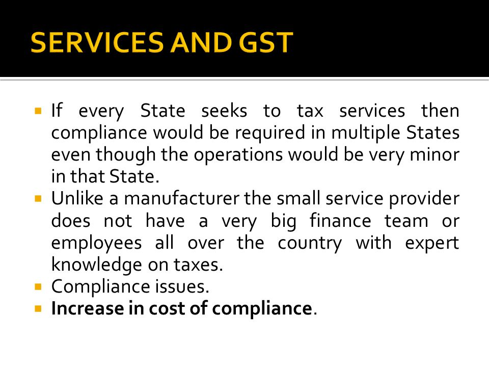 SERVICES AND GST
