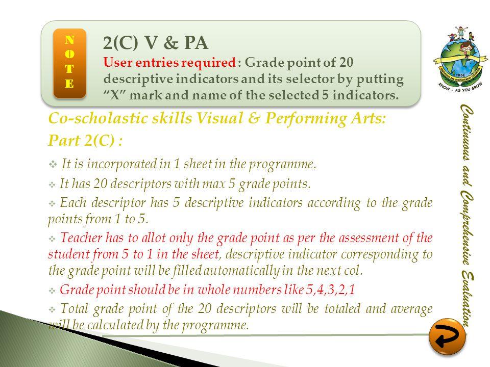 2(C) V & PA Co-scholastic skills Visual & Performing Arts: Part 2(C) :