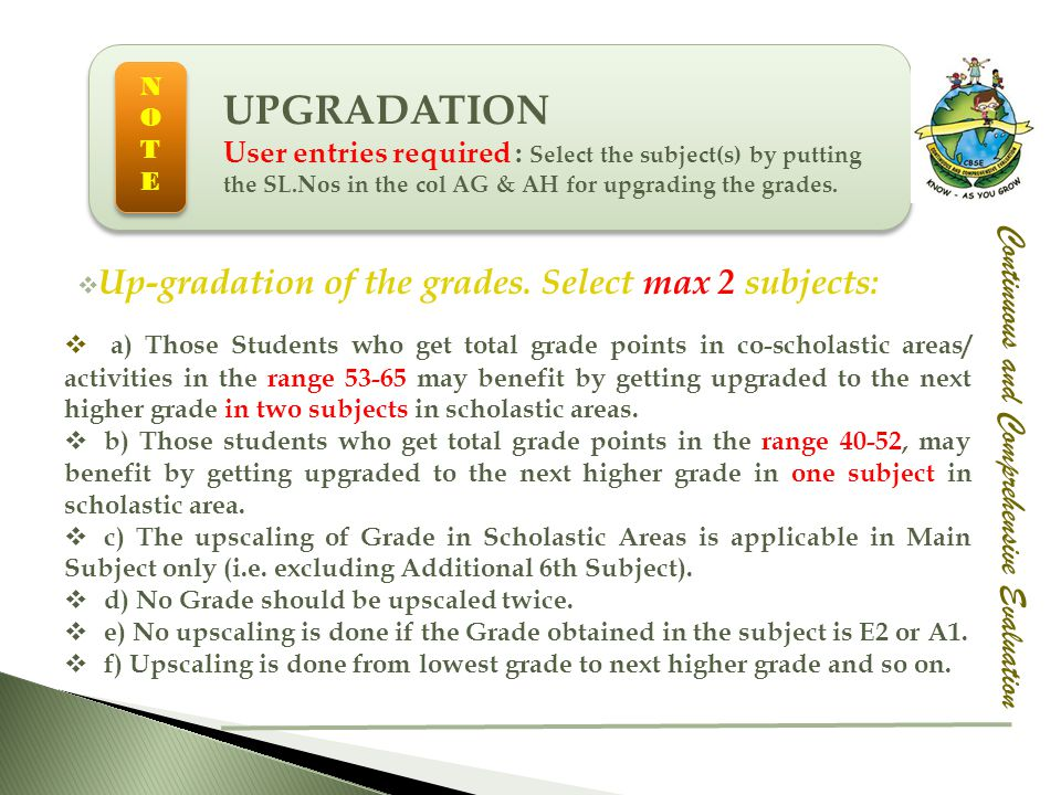 UPGRADATION Up-gradation of the grades. Select max 2 subjects: