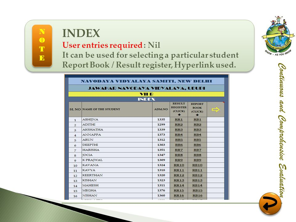 INDEX Continuous and Comprehensive Evaluation