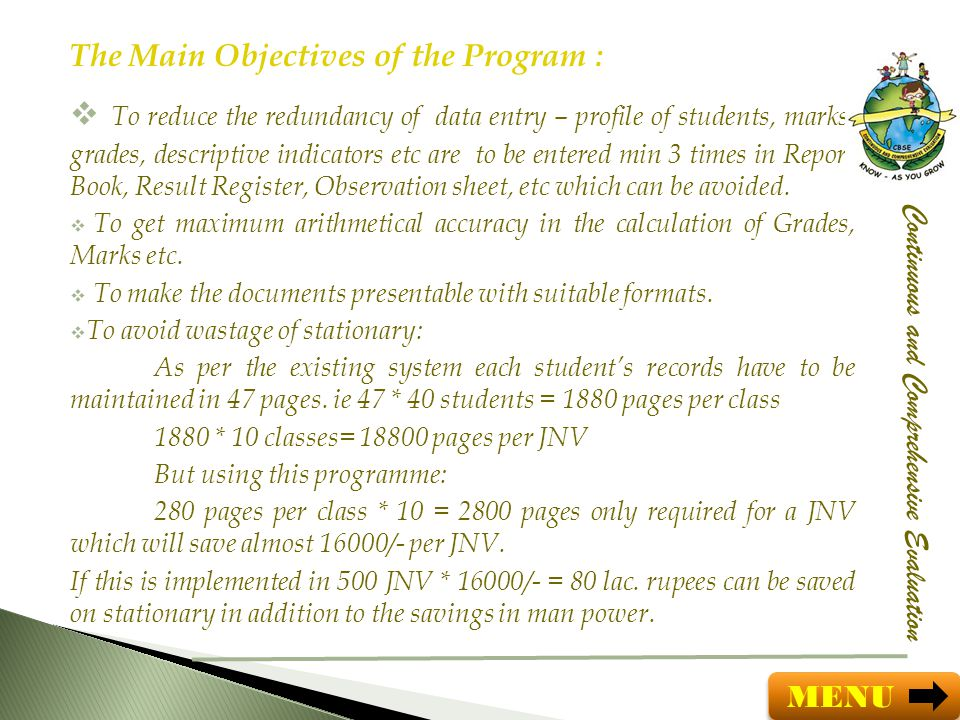 The Main Objectives of the Program :