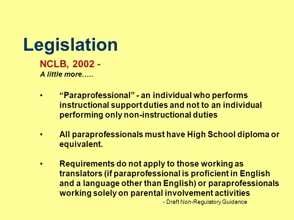 Legislation NCLB, 2002 - A little more…..