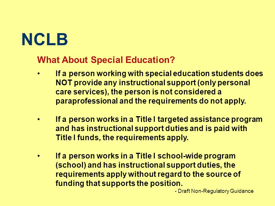 NCLB What About Special Education