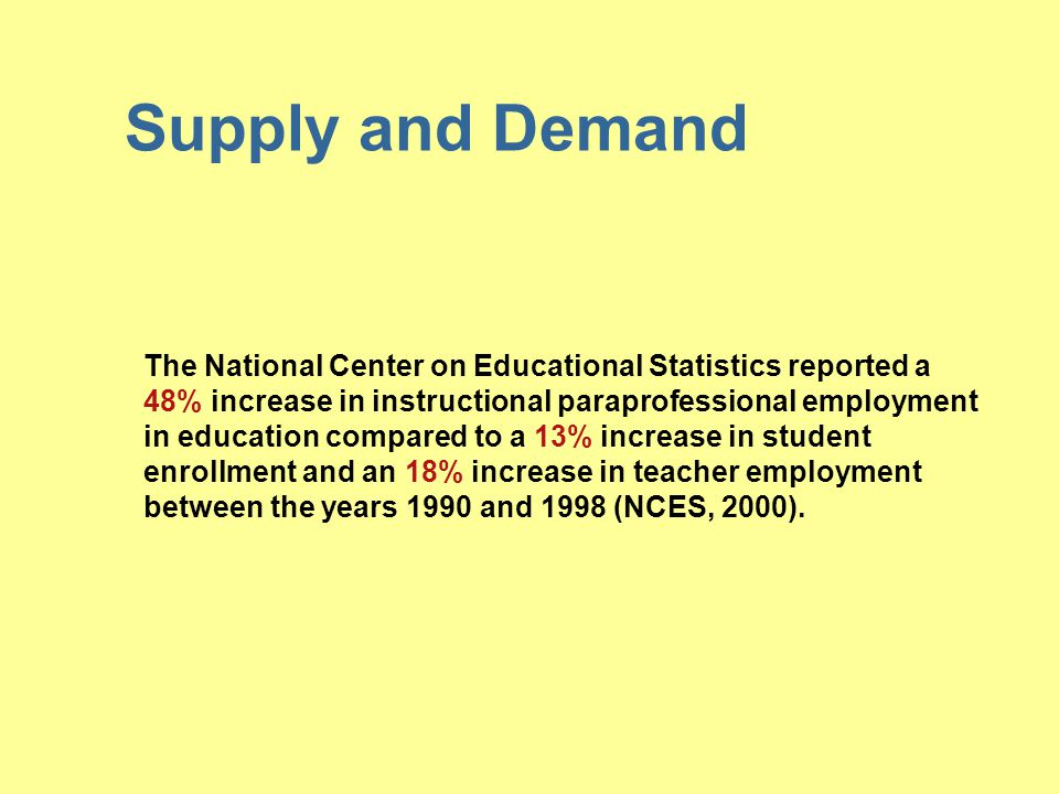 Supply and Demand The National Center on Educational Statistics reported a.