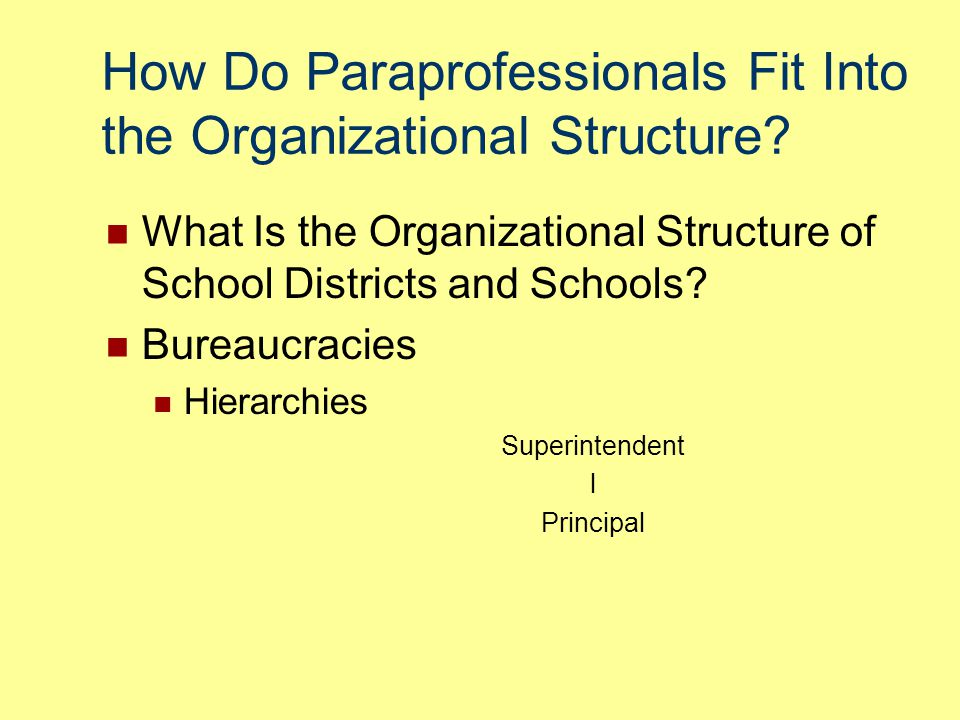 How Do Paraprofessionals Fit Into the Organizational Structure
