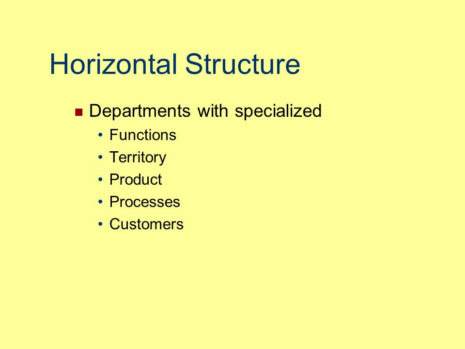 Horizontal Structure Departments with specialized Functions Territory