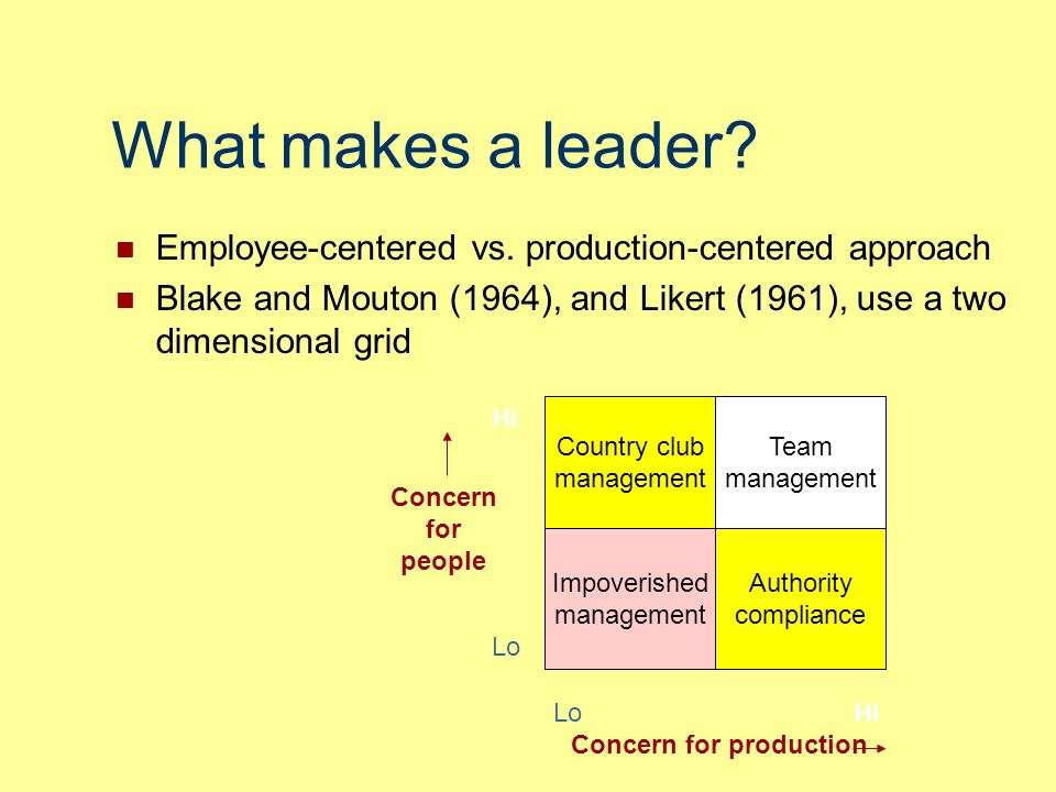 What makes a leader Employee-centered vs. production-centered approach. Blake and Mouton (1964), and Likert (1961), use a two dimensional grid.