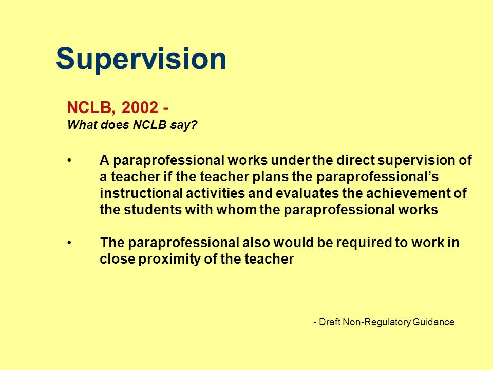Supervision NCLB, 2002 - What does NCLB say