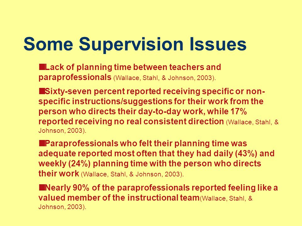 Some Supervision Issues