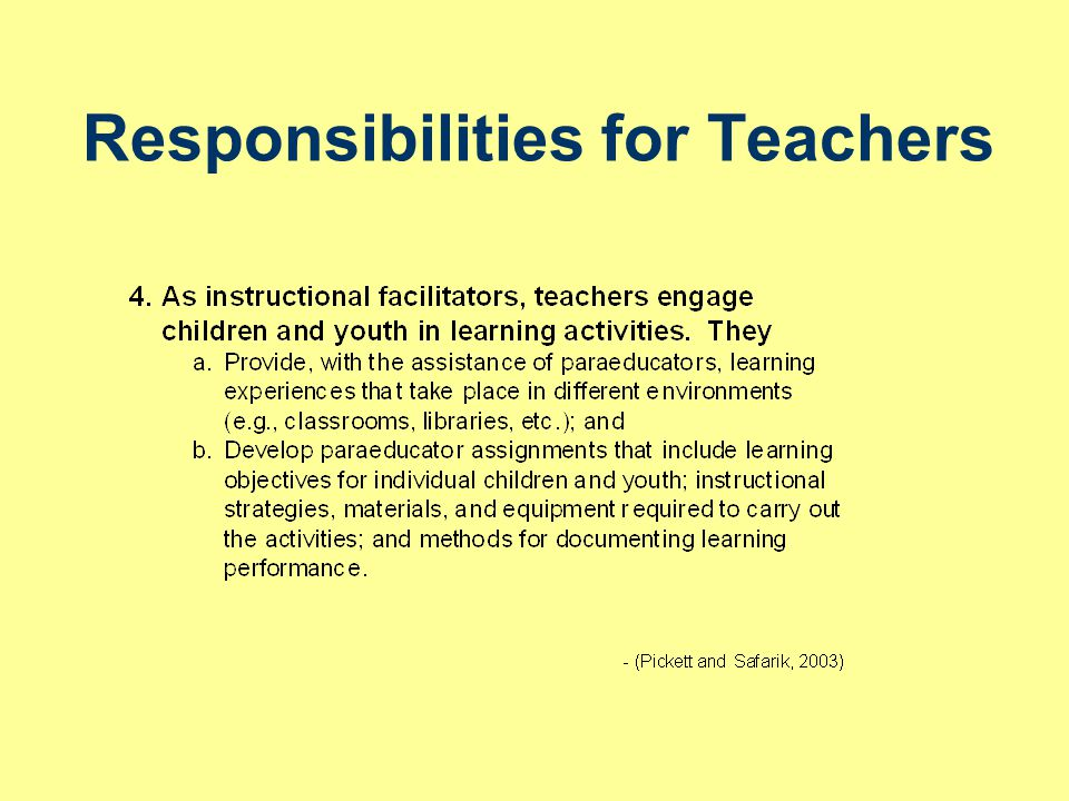 Responsibilities for Teachers