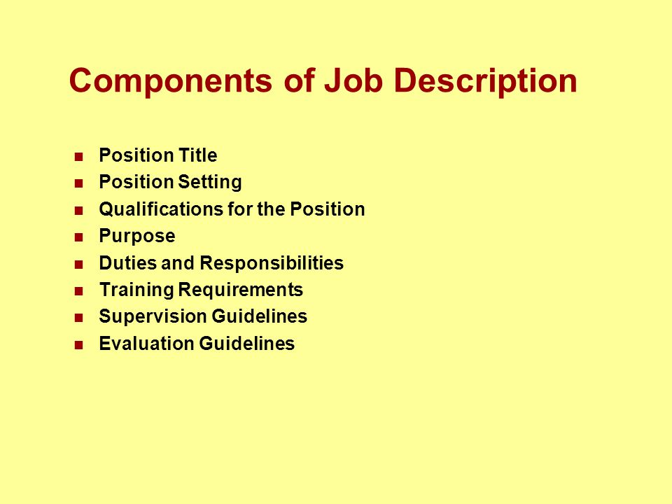 Components of Job Description