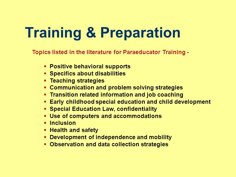 Training & Preparation