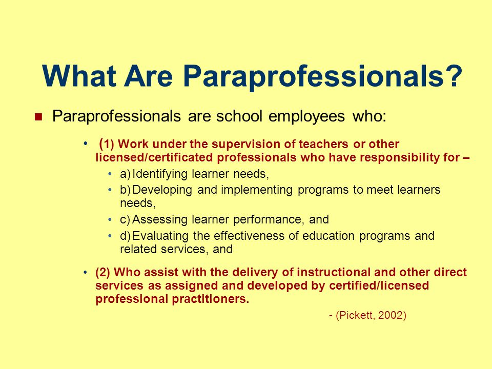 What Are Paraprofessionals