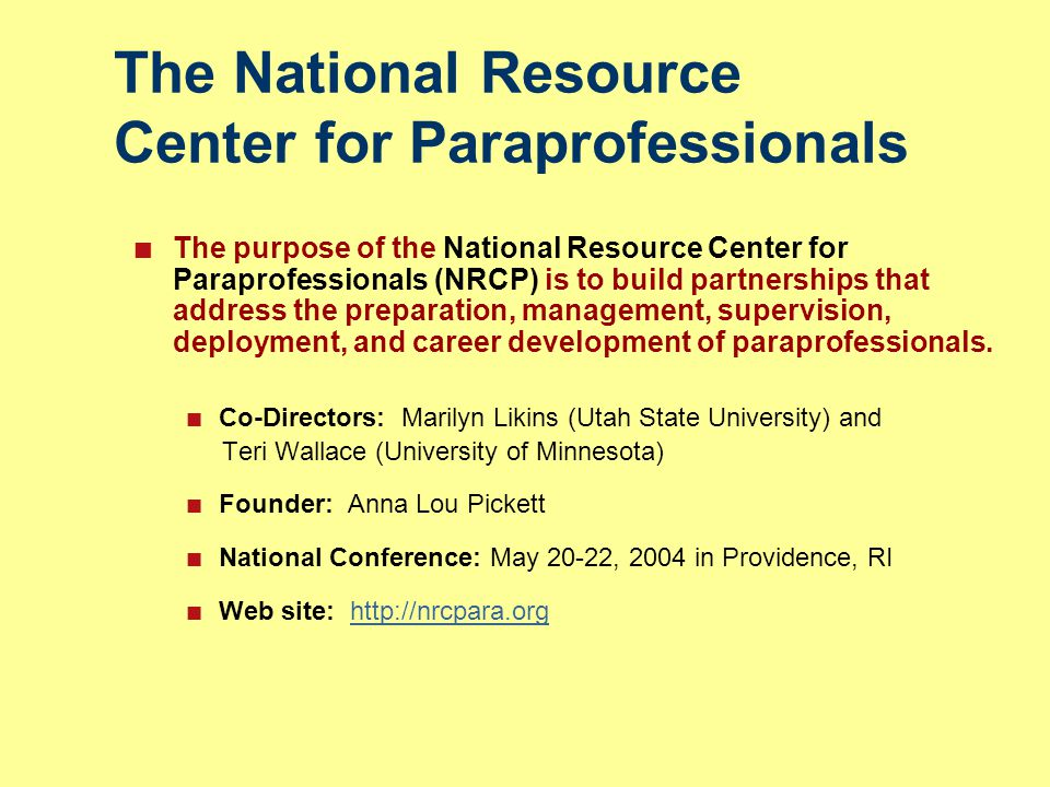 The National Resource Center for Paraprofessionals