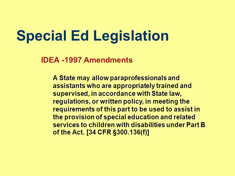 Special Ed Legislation