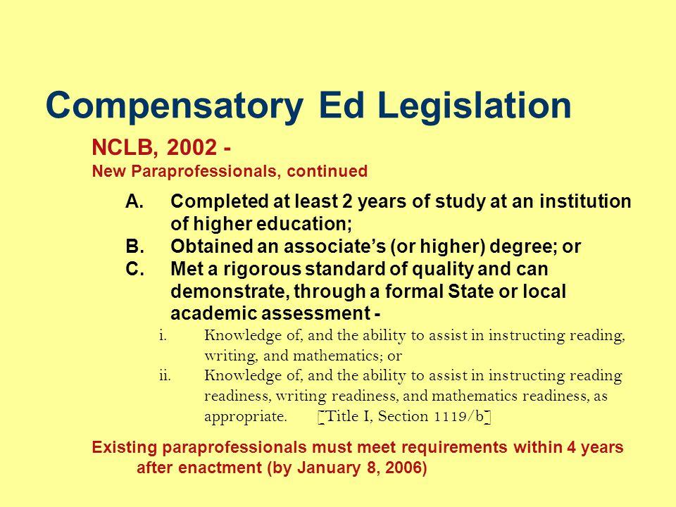 Compensatory Ed Legislation
