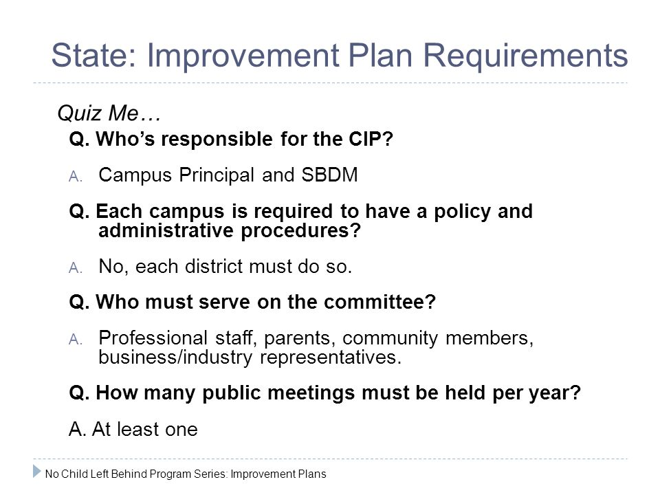 State: Improvement Plan Requirements