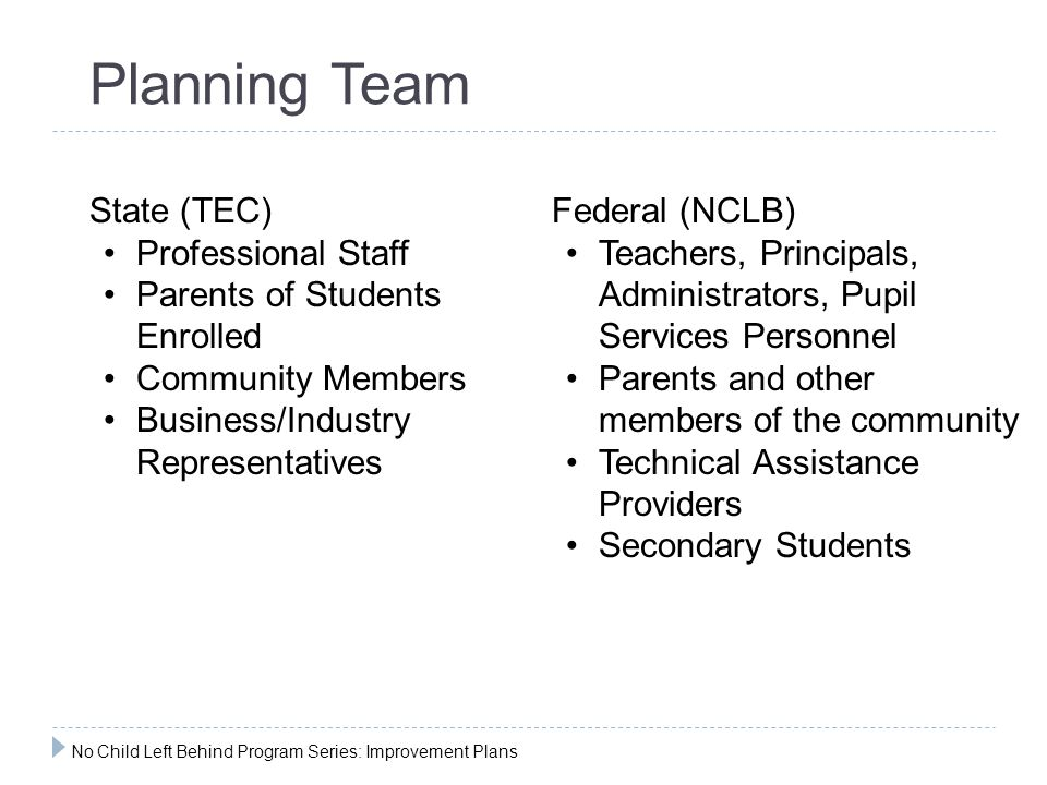 Planning Team State (TEC) Professional Staff