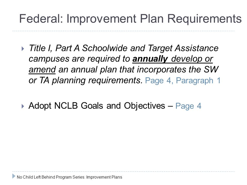 Federal: Improvement Plan Requirements