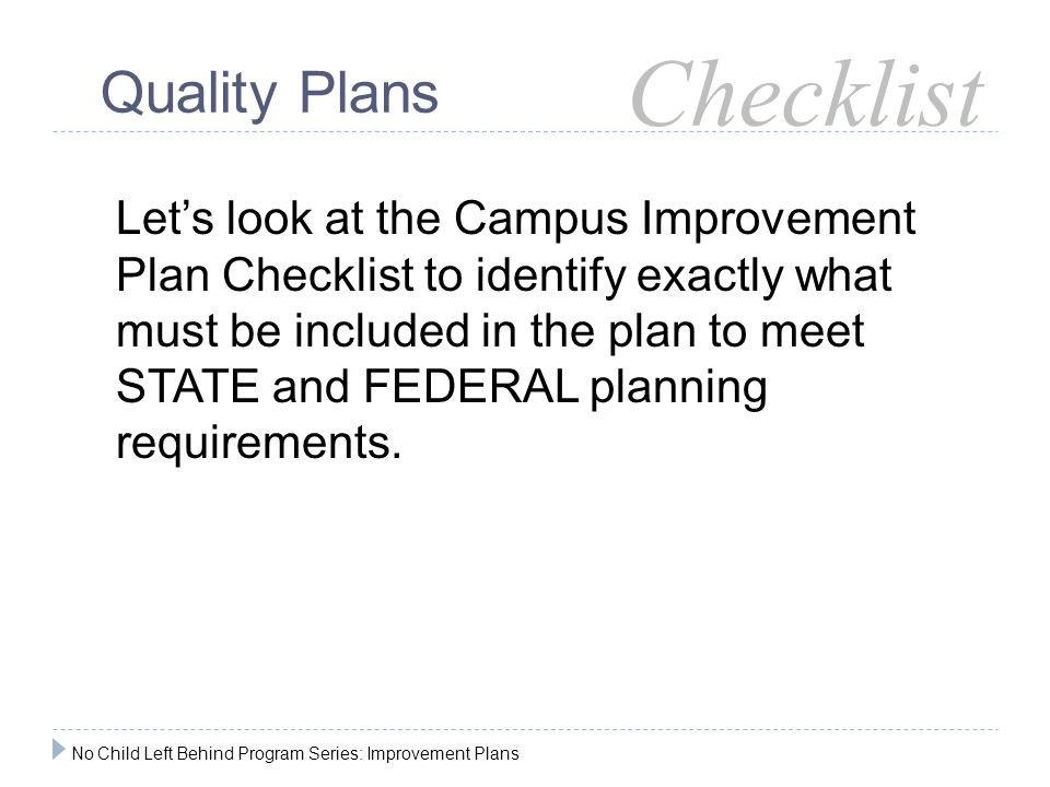 Checklist Quality Plans