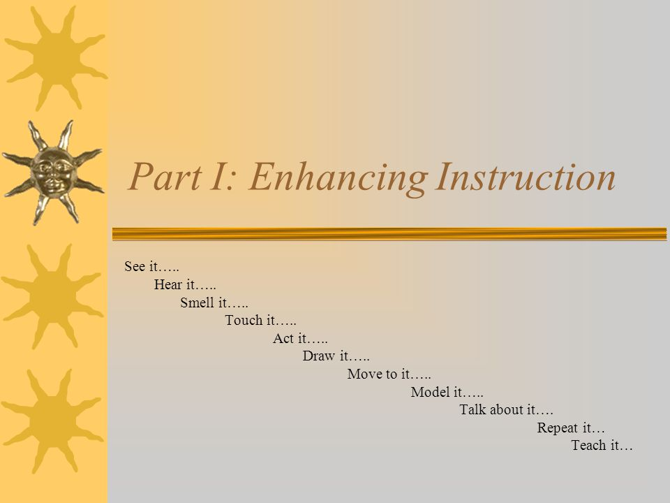 Part I: Enhancing Instruction