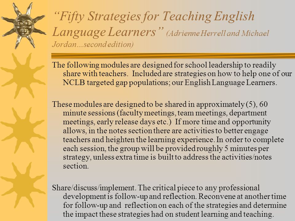 Fifty Strategies for Teaching English Language Learners (Adrienne Herrell and Michael Jordan…second edition)