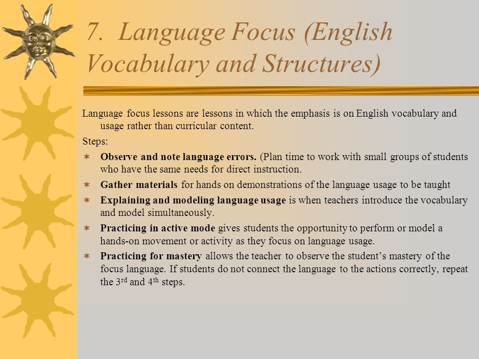 7. Language Focus (English Vocabulary and Structures)