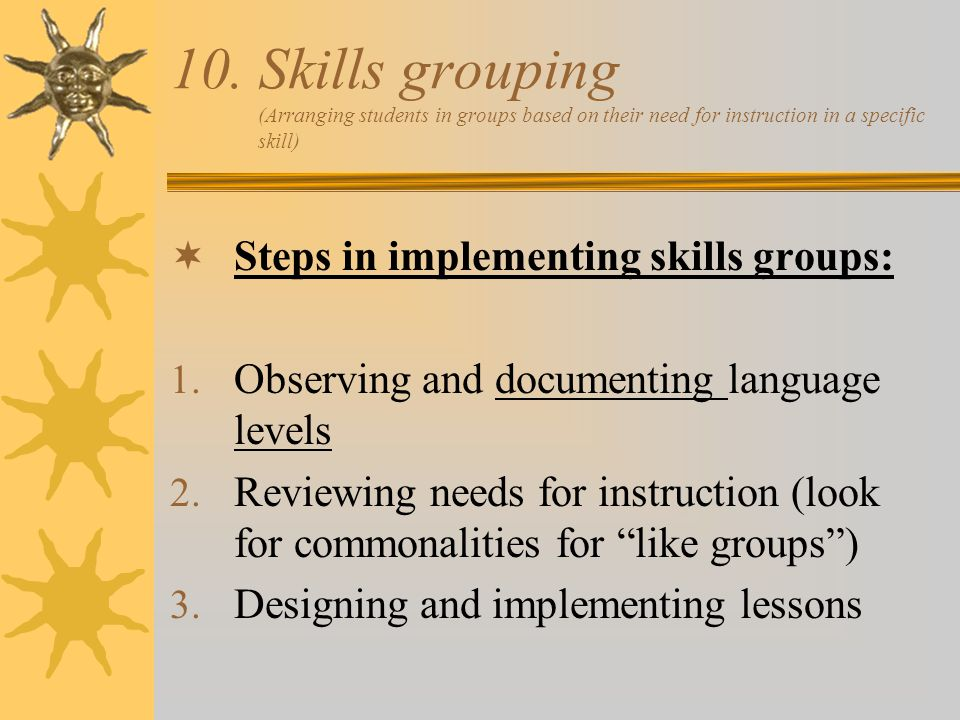 Skills grouping (Arranging students in groups based on their need for instruction in a specific skill)
