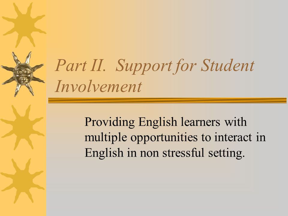Part II. Support for Student Involvement