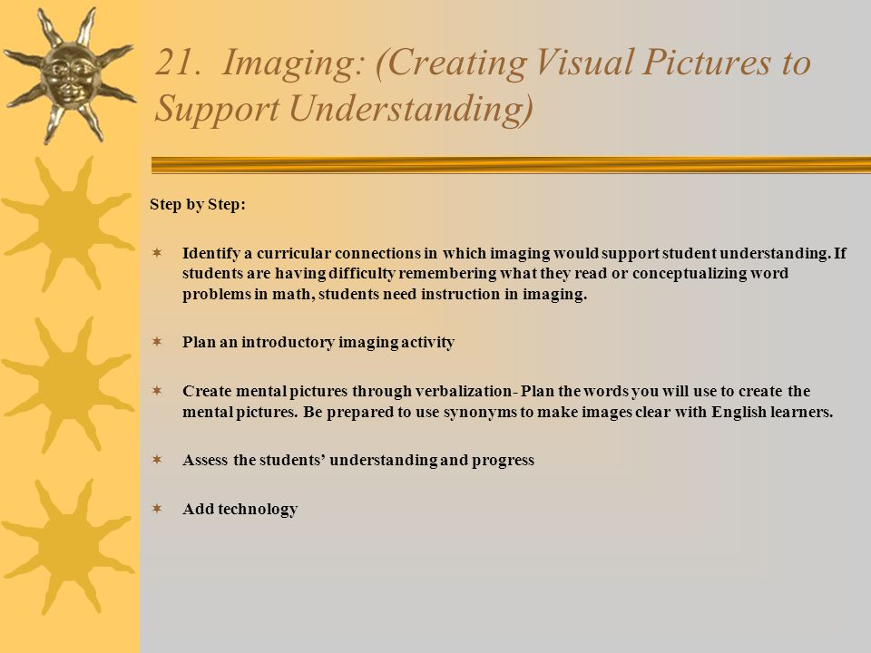 21. Imaging: (Creating Visual Pictures to Support Understanding)
