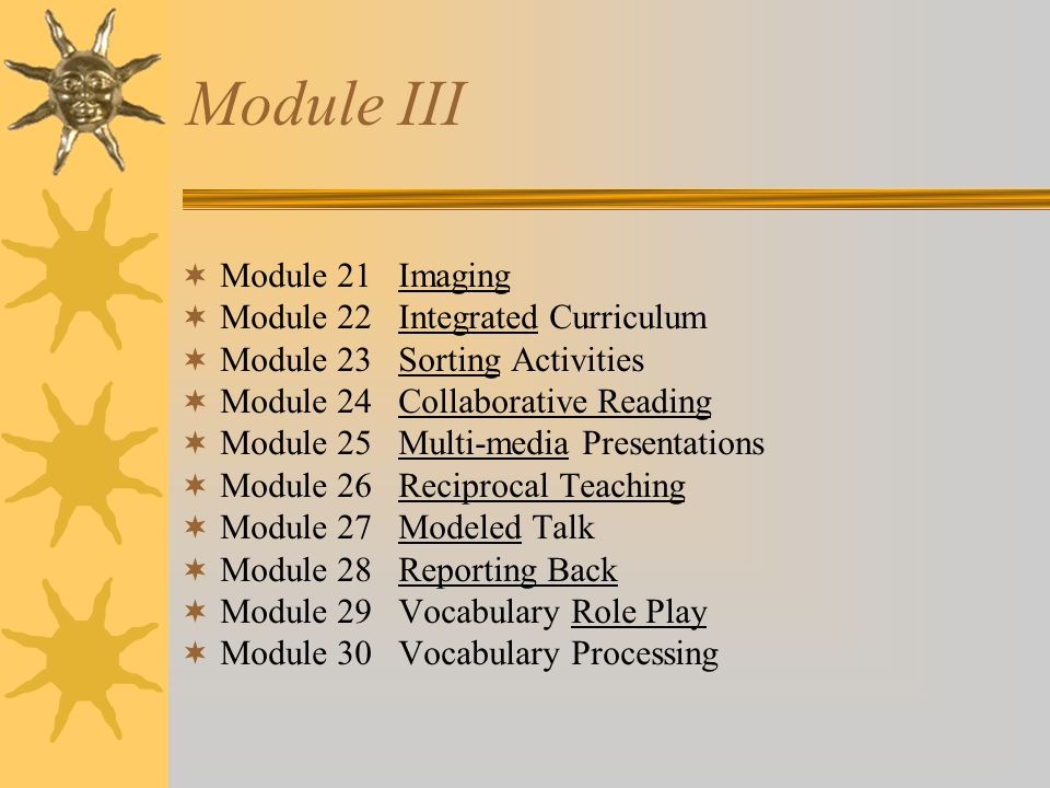 Module III Module 21 Imaging Module 22 Integrated Curriculum