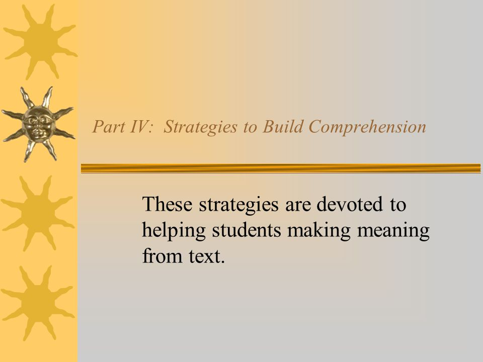 Part IV: Strategies to Build Comprehension