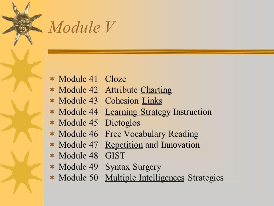 Module V Module 41 Cloze Module 42 Attribute Charting