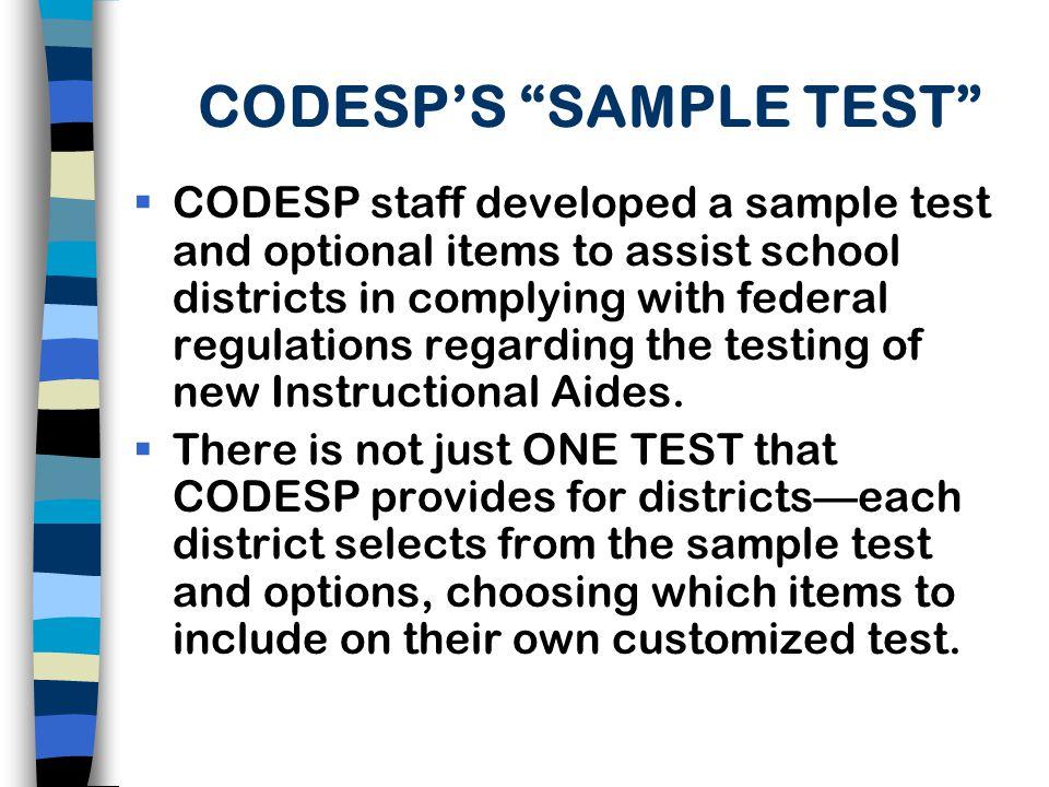 CODESP'S SAMPLE TEST
