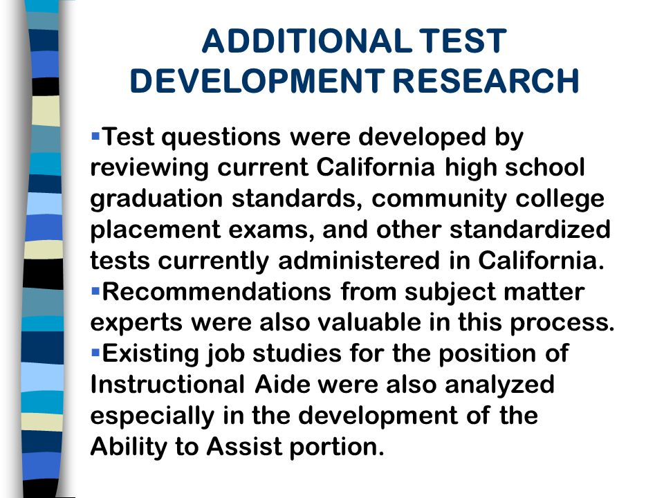 ADDITIONAL TEST DEVELOPMENT RESEARCH