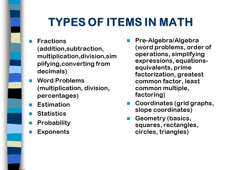TYPES OF ITEMS IN MATH Fractions (addition,subtraction, multiplication,division,simplifying,converting from decimals)