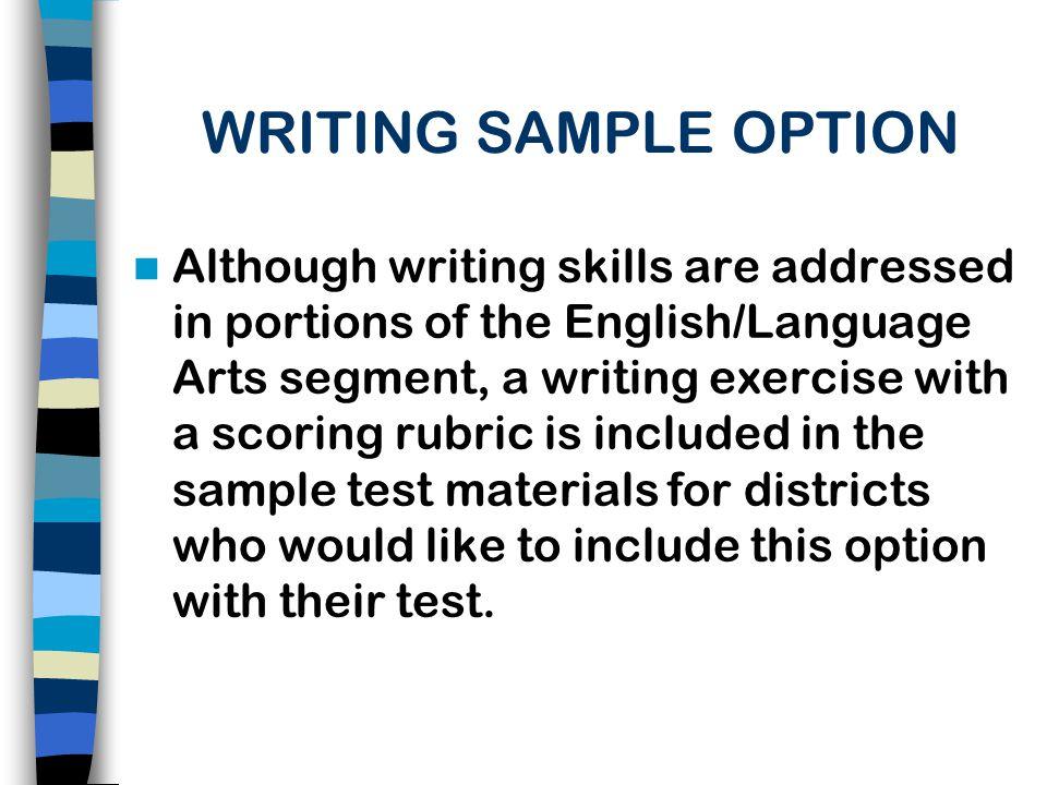 WRITING SAMPLE OPTION