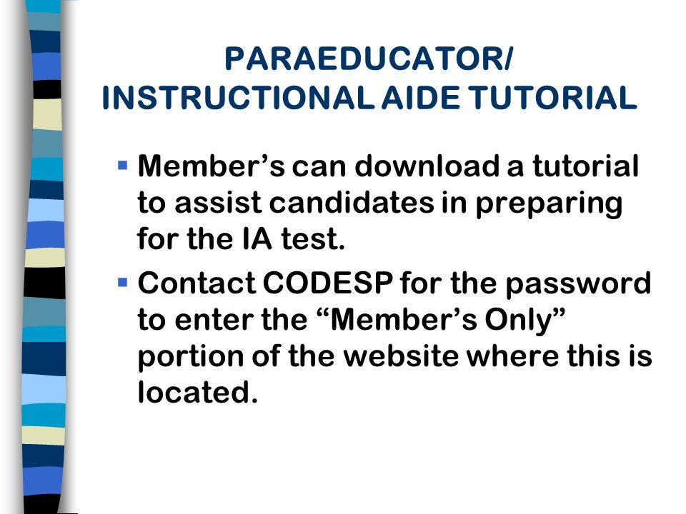 PARAEDUCATOR/ INSTRUCTIONAL AIDE TUTORIAL
