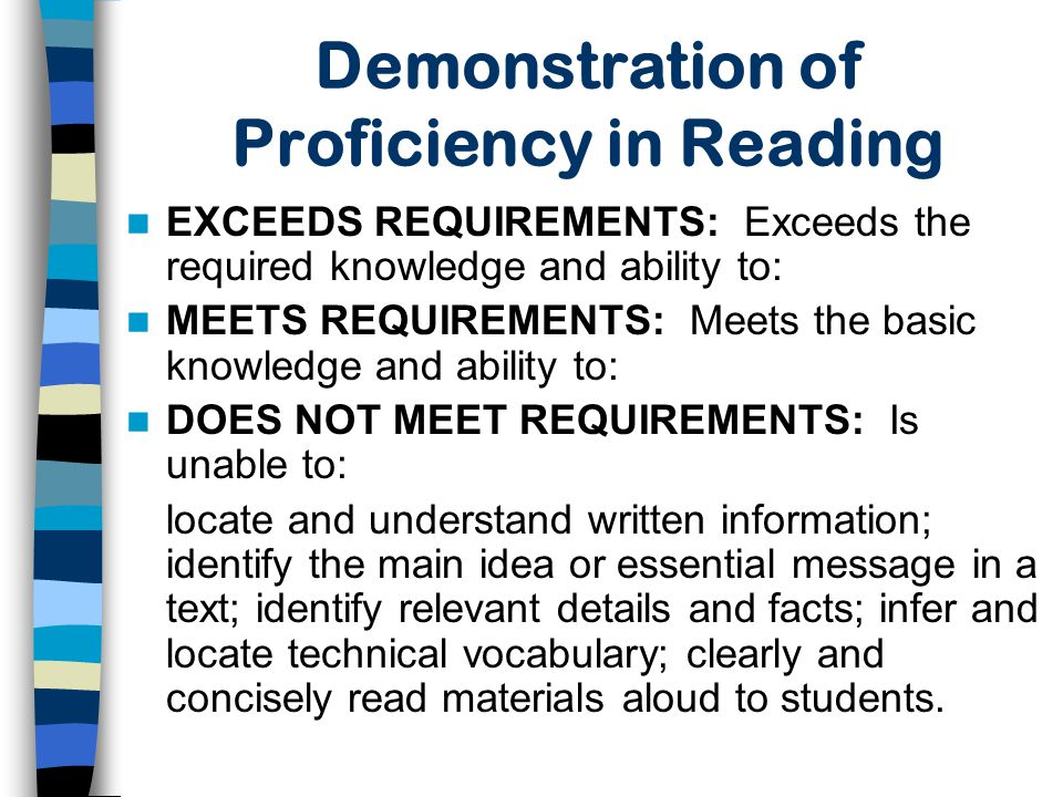 Demonstration of Proficiency in Reading
