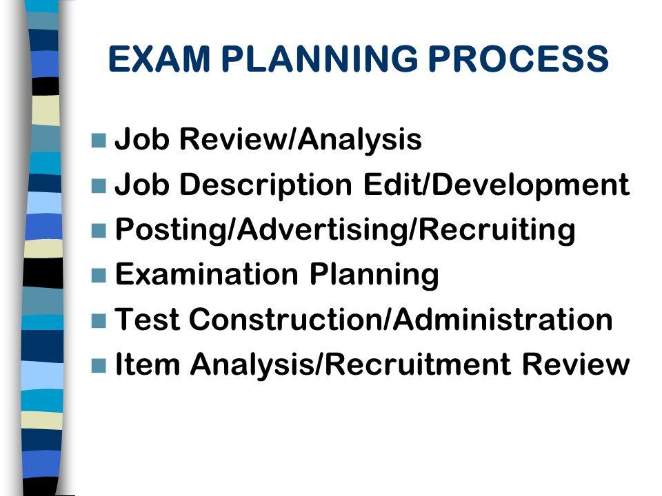 EXAM PLANNING PROCESS Job Review/Analysis
