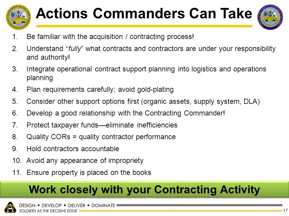 Actions Commanders Can Take