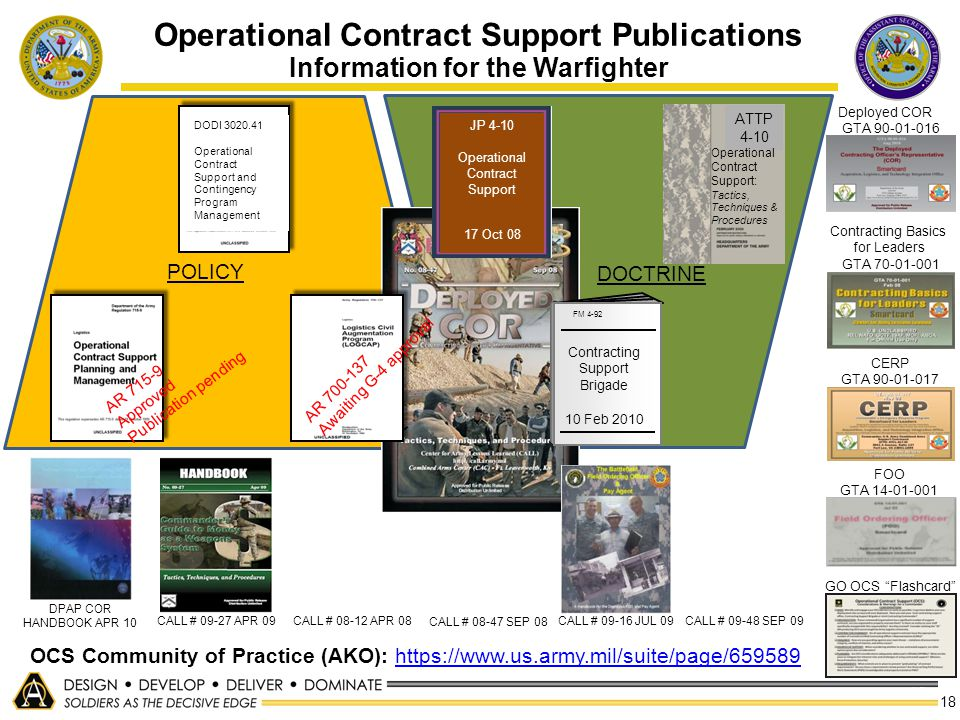 Operational Contract Support Publications Information for the Warfighter