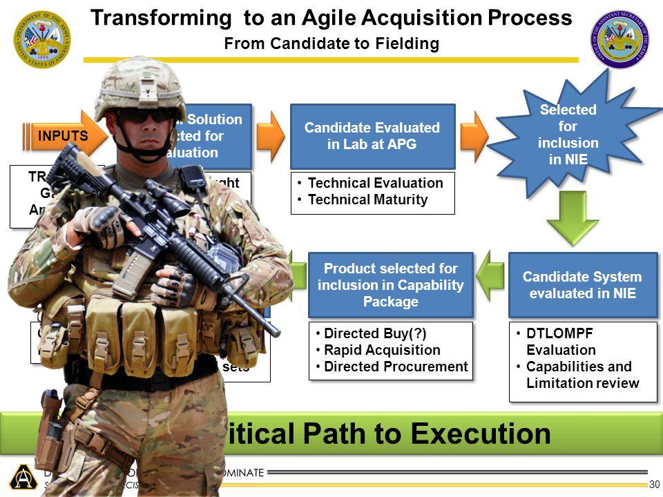NIE = Critical Path to Execution
