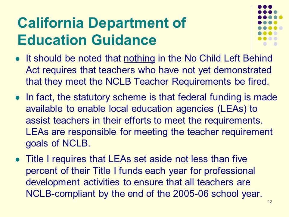 California Department of Education Guidance