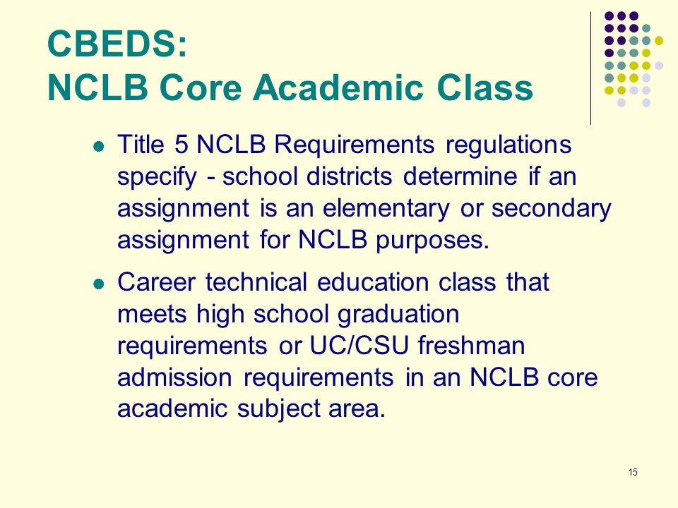 CBEDS: NCLB Core Academic Class