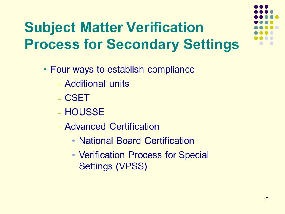 Subject Matter Verification Process for Secondary Settings
